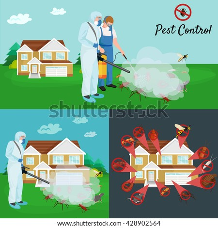 Man controlling house outdoor pest. Man exterminator spraying chemical toxic pesticide poison for pest control.Pest controller in protection equipment uniform spraying toxic chemical poison on insect