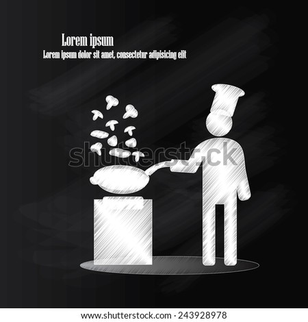 man cooking icon vector on chalkboard,man vector,chef vector - stock vector