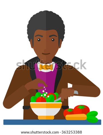 Man cooking meal. - stock vector