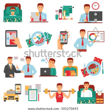 man daily routine icon set busy stock vector royalty free