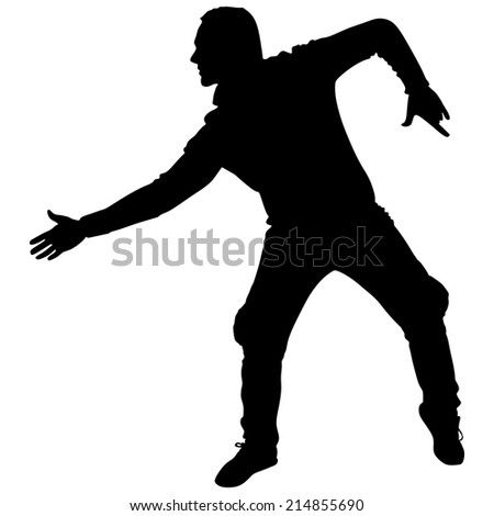 Man dancing silhouette, vector