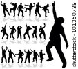 man dancing vector silhouette art illustration on white - stock vector