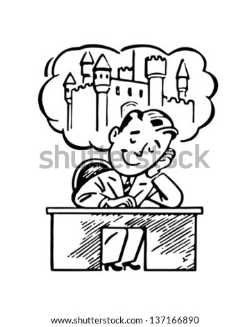 Man Daydreaming Retro Clip Art Illustration Stock Vector 137166890