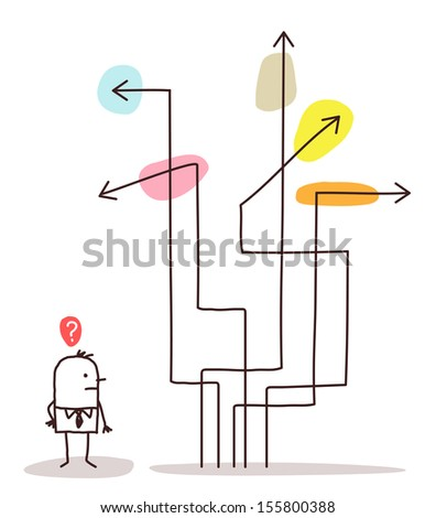 man & direction arrows - stock vector