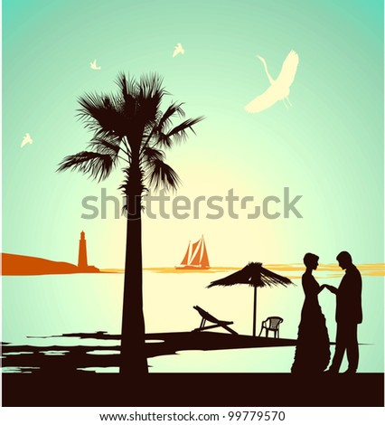Man does offer the woman on the bank of tropical island - stock vector
