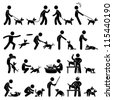 Man Dog Training Playing Pet Stick Figure Pictogram Icon - stock photo