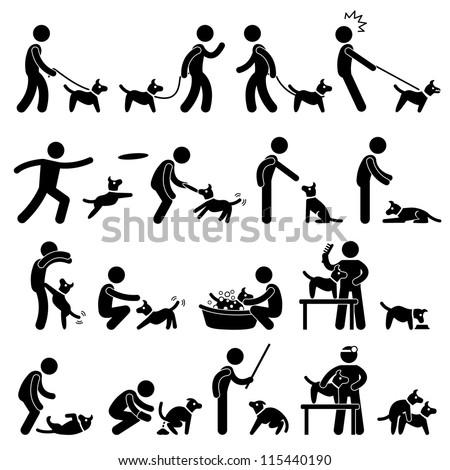 Man Dog Training Playing Pet Stick Figure Pictogram Icon - stock vector