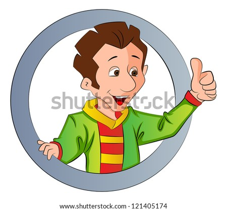 Man Doing a Thumbs Up Sign, inside a circle, vector illustration