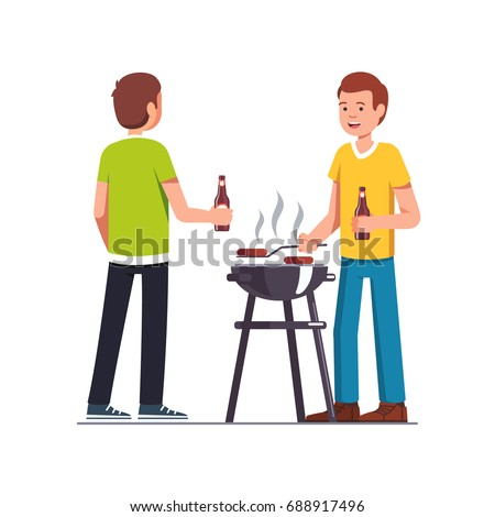 Man Doing Barbecue Grilling Meat Outdoors Stock Vector - Backyard bbq party cartoon