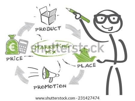 Man drawing marketing strategy concept. Keywords and icons - stock vector