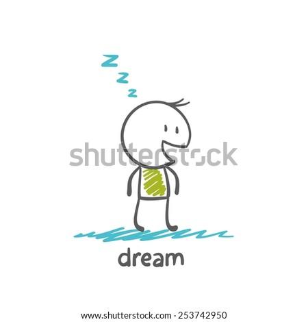 man dreams, illustrator - stock vector