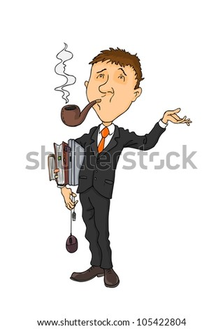 Man dressed in a suit and with his pipe in his mouth - stock vector