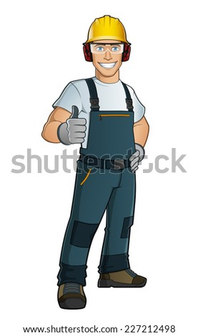Man dressed in work clothes - stock vector