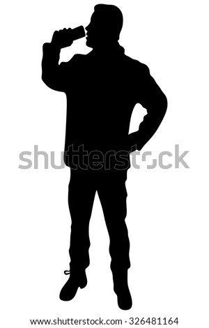 Man drinking beer - stock vector