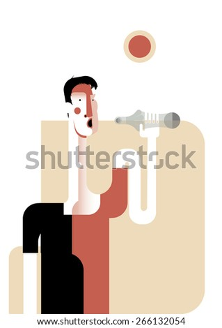 Man drinking water from the bottle. Sun, hot day,thirst - stock vector