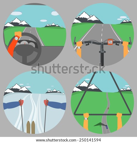 Man Drives Different Vehicle Types. Vector Illustration. - stock vector