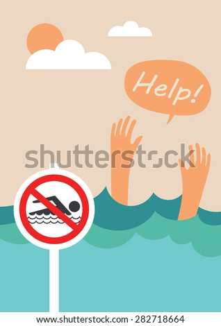 Man drowns. Prohibition forbidden red symbols for no swimming - stock vector