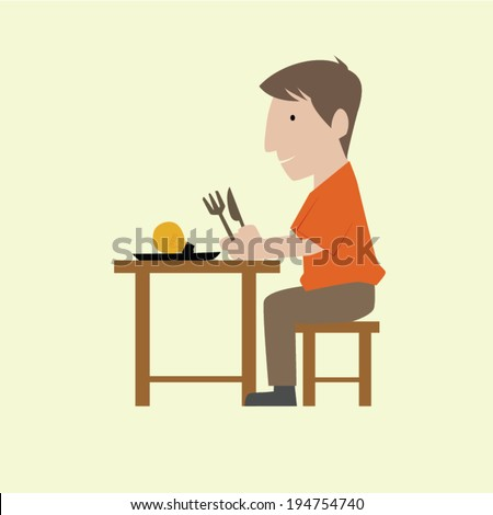 Man eat electrical bulb, symbol of idea. - stock vector