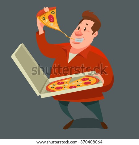 man eating a big slice of pizza and  holding pizza in box, cartoon character, vector illustration - stock vector