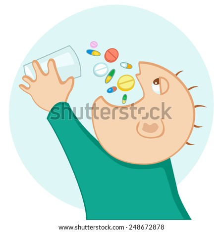 man eating a lot of medication - stock vector