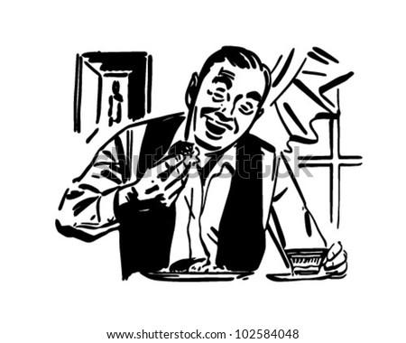 Man Eating Breakfast - Retro Clipart Illustration - stock vector