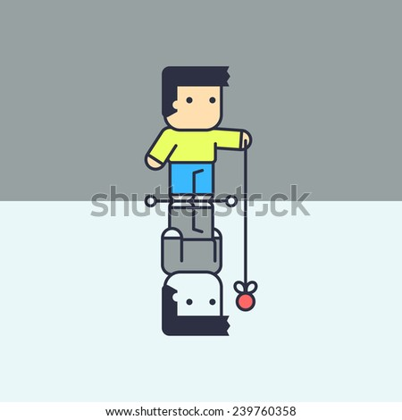 man engaged in self-motivation. Conceptual illustration. line art style - stock vector