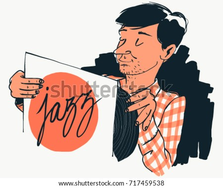 Man enjoying a jazz vinyl record vintage vector cartoon