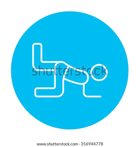 Man exercising buttocks line icon for web, mobile and infographics. Vector white icon on the light blue circle isolated on white background. - stock vector