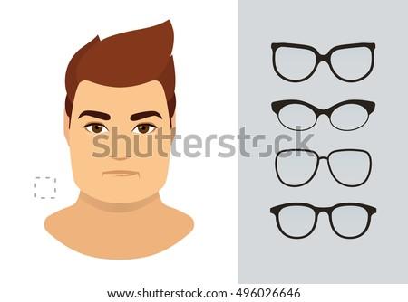 Man Eyeglasses Shapes Square Man Face Stock Vector (Royalty Free ...
