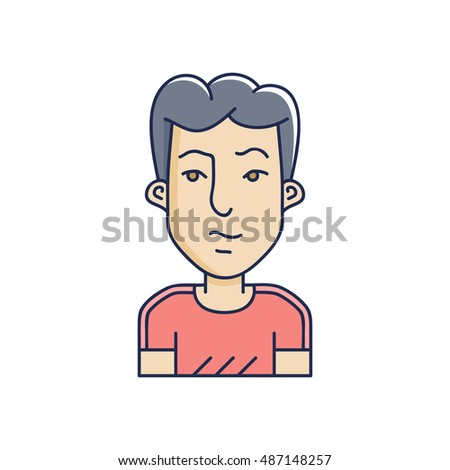 Man face expression avatar icon. Vector linear boy avatars