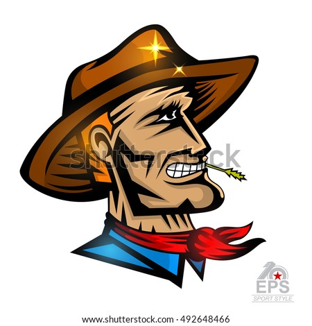 man face profile cowboy hat isolated stock vector 492648466 shutterstock