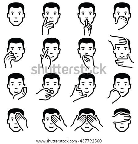 Man face with hand icon collection - vector outline illustration  - stock vector