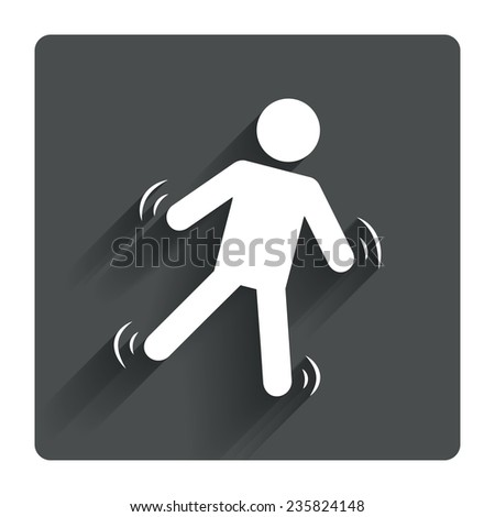 Man falls sign icon. Falling down human symbol. Caution slippery. Gray flat square button with shadow. Modern UI website navigation. Vector - stock vector