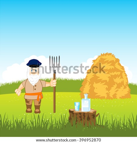 Man farmer in field on stocking up network - stock vector