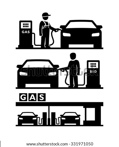 Man filling gasoline fuel in car at gas station vector  - stock vector