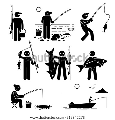 Man fishing big and small fish at river, lake, ice and sea with small boat for recreation. - stock vector