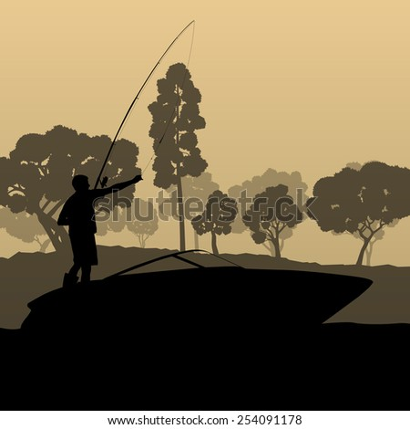 Man fishing on lake from boat vector background landscape - stock vector