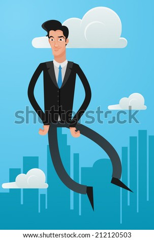 man flying in business suit