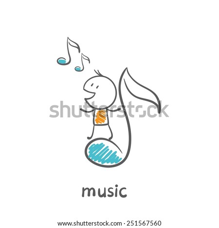 man flying on a musical note illustration - stock vector