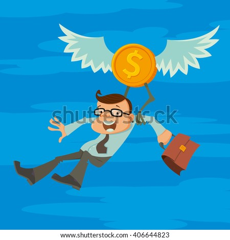 man flying with the wings of financial success