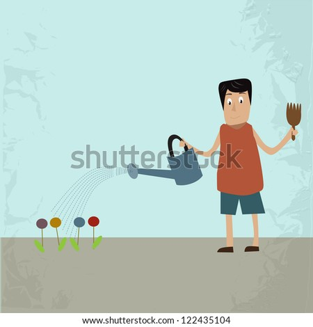 Man gardener waters with a flower from a watering can, vector - stock vector