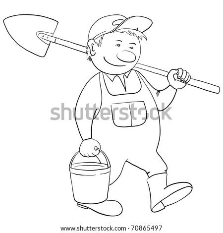 Man gardener with a bucket and a shovel goes to work in a garden, contour - stock vector