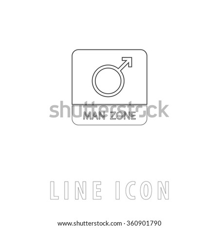 man gender Outline simple vector icon on white background. Line pictogram with text  - stock vector