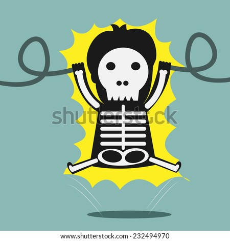 man gets an electric shock - stock vector