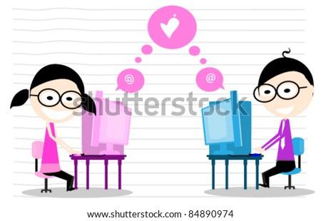 man girl chat - stock vector