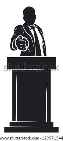 man giving speech (orator speaking at a podium, man speaking at a conference, man giving speech with tribune, politician speaker, politician pointing to the viewer, hand pointing , finger pointing) - stock vector