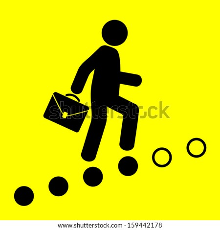 man goes on the career ladder on a yellow background - stock vector