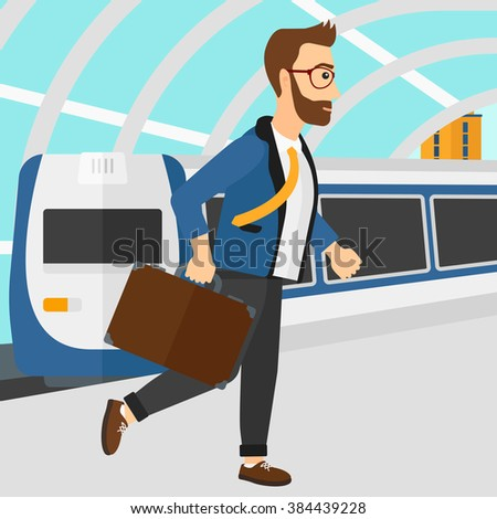 Man going out of train. - stock vector