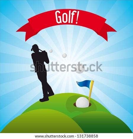 man golfer over landscape background, golf. vector illustration - stock vector