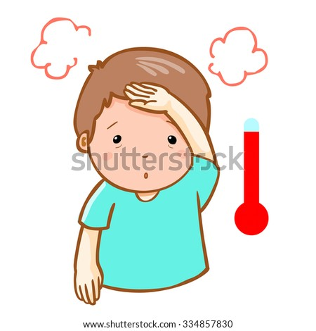 man got high temperature cause flu disease, vector - stock vector